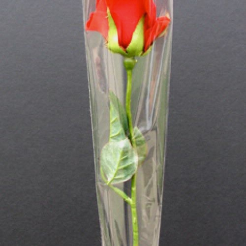 Cellophane Single Rose Sleeve (Clear) 1x21.5x4.75 (50 Pack)