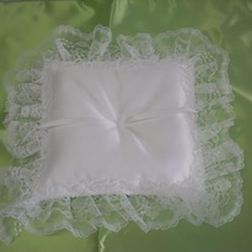 Satin/lace Rectangular Pillow White