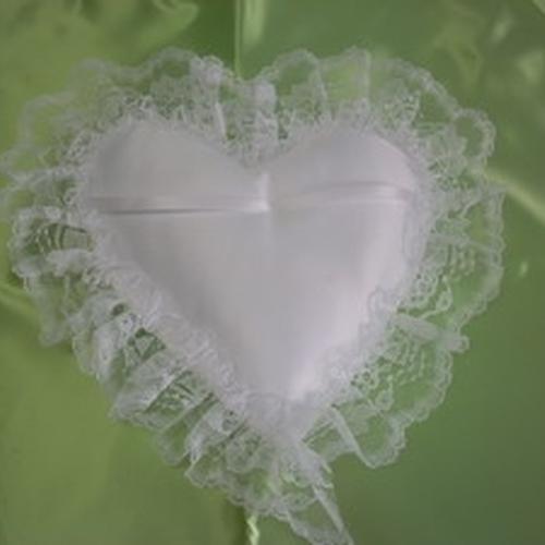 Satin/lace Heart Pillow White