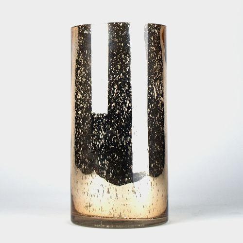 12 Inch H X 6 Inch Rose Gold Mercury Round Cylinder