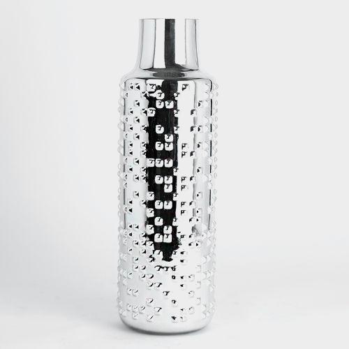15 Inch H X 3 Inch Silver Textured Round Cylinder